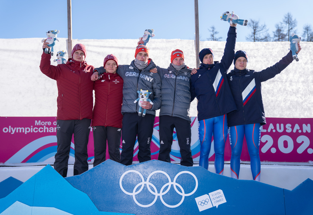 The luge men's doubles medallists | Thomas Lovelock for OIS