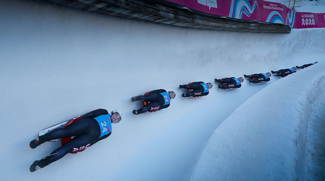 A multi-exposure image of luger McKenna Mazlo (USA) | Photo: IOC Young Reporters